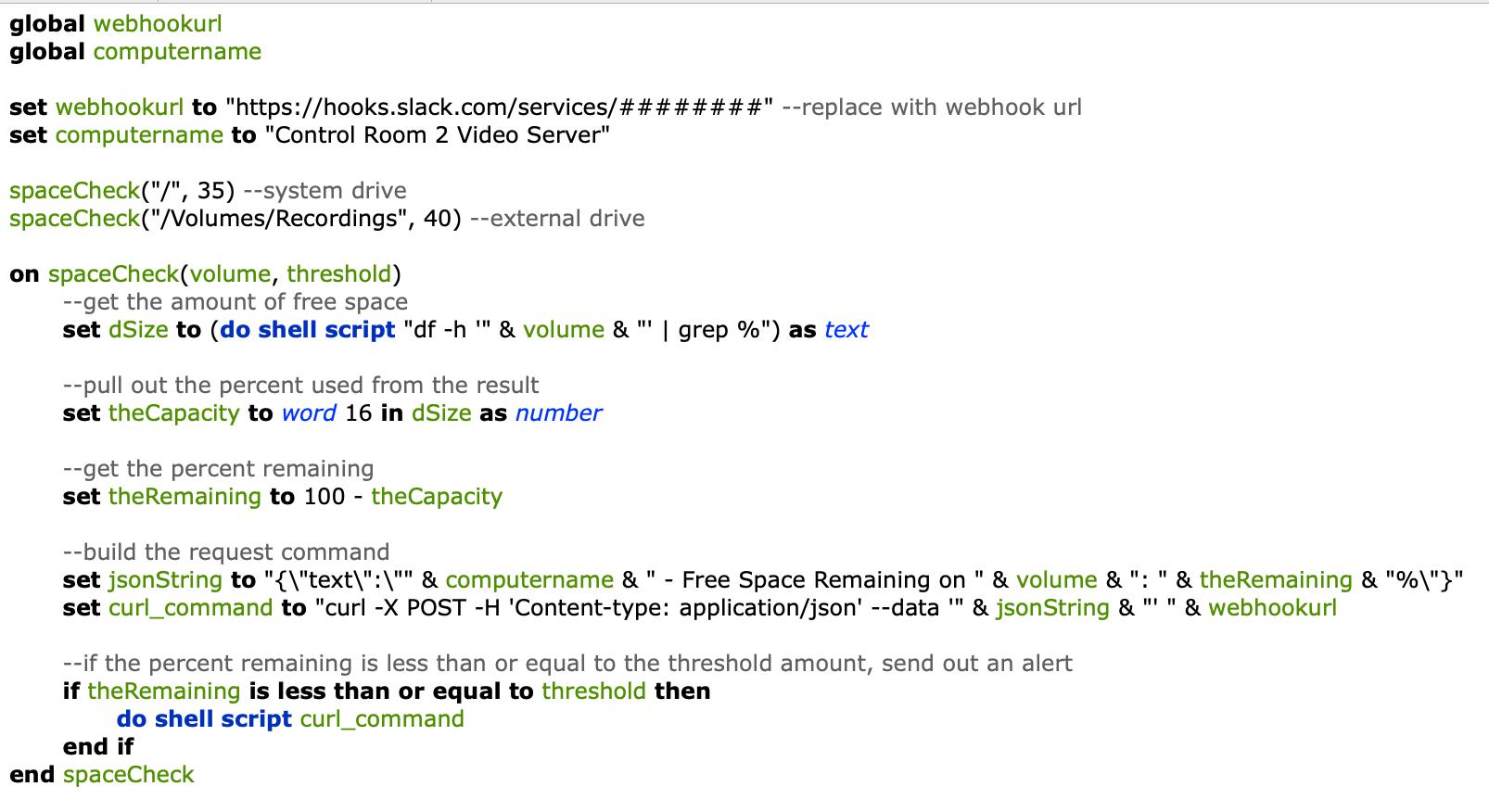 Sending automated reminders via a Slack webhook, AppleScript